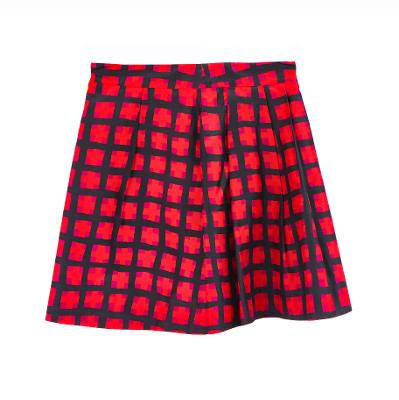 check mini skirt red